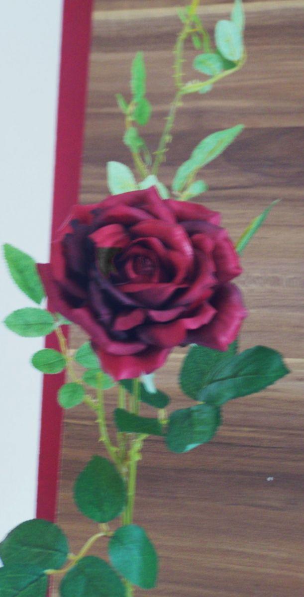 Elegante weinrote rose mit offener bl te 75cm k nstliche for Weinrote deko